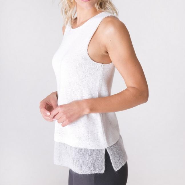 Shibui Knits Printed patterns in English Mirage for Fern and Silk Cloud
