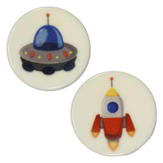 Jim Knopf Colorful plastic button space motiv 18mm