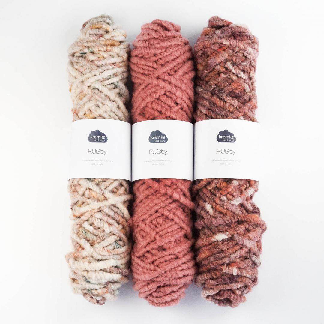 Kremke Soul Wool RUGby Teppichwolle gefärbt  Natur-Kupfer